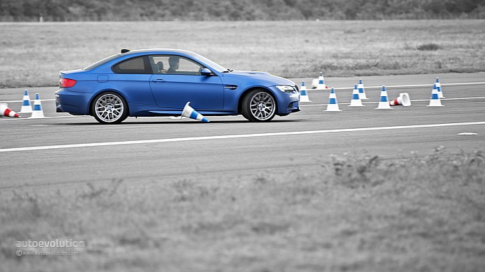 BMW M3 hitting a cone at Driving Experience