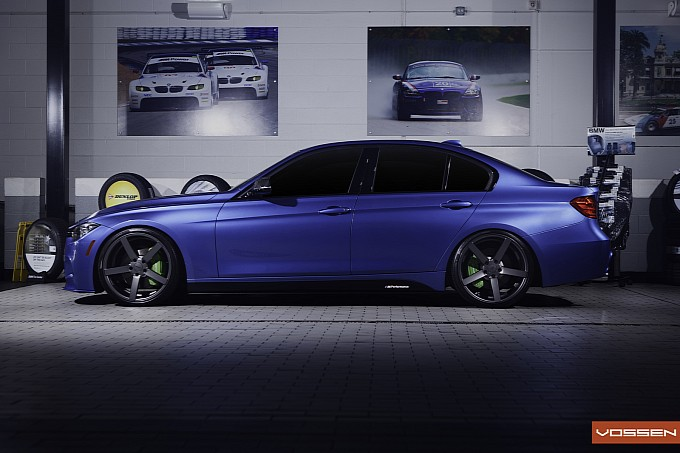 Estoril Blue BMW F30 335i on Vossen Wheels