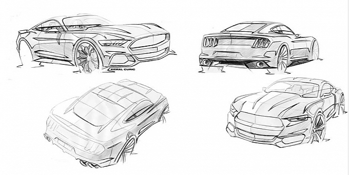 new 2015 ford mustang sketches released