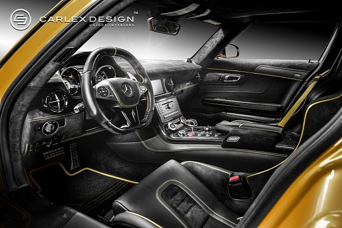 as the pictures show the mercedes benz sls amg black series by carlex design features a host of bare carbon fibre components as well as alcantara and