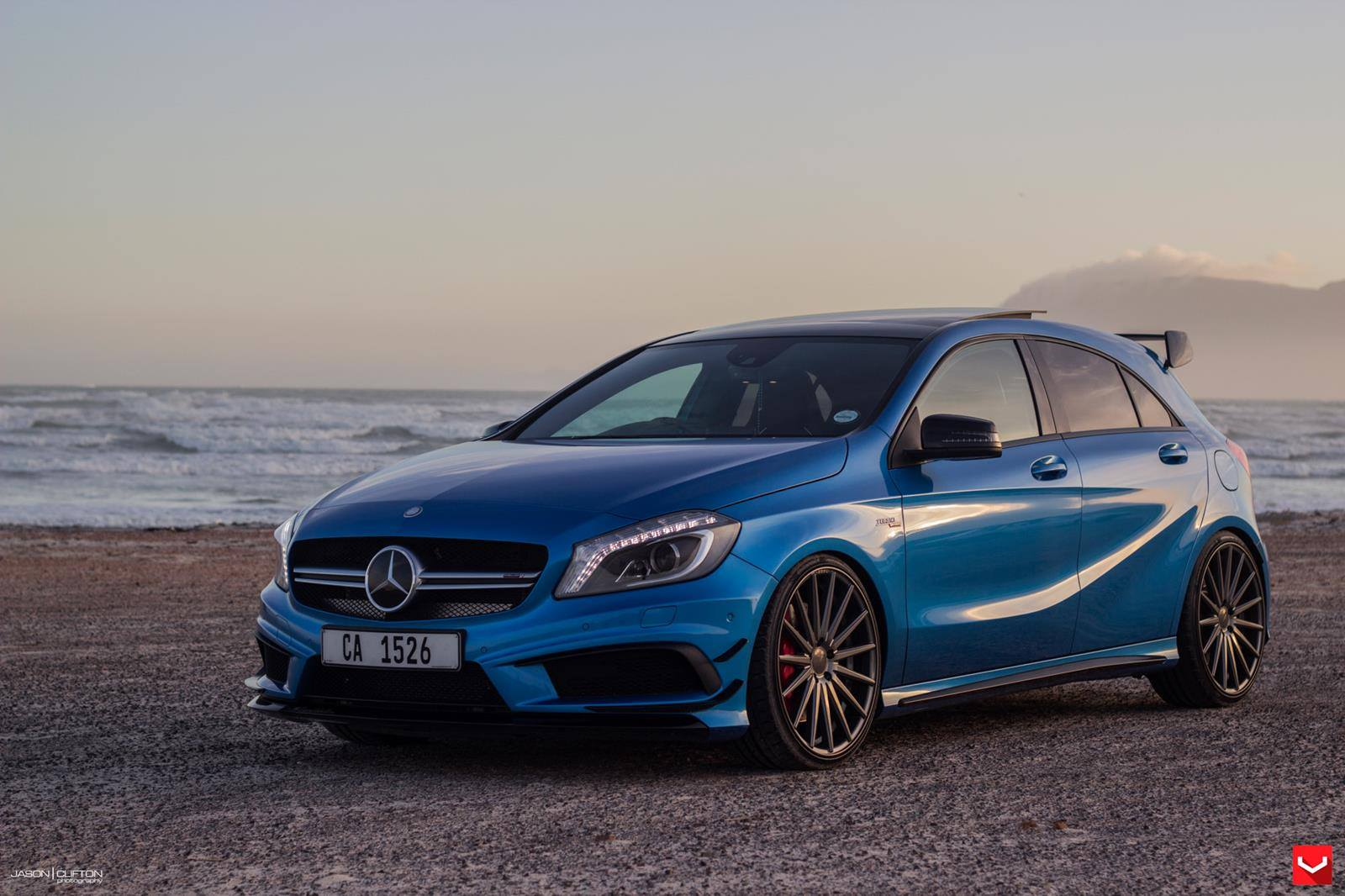 mercedes a45 amg on vossen 20 inch wheels takes a stroll on the beach autoevolution. Black Bedroom Furniture Sets. Home Design Ideas