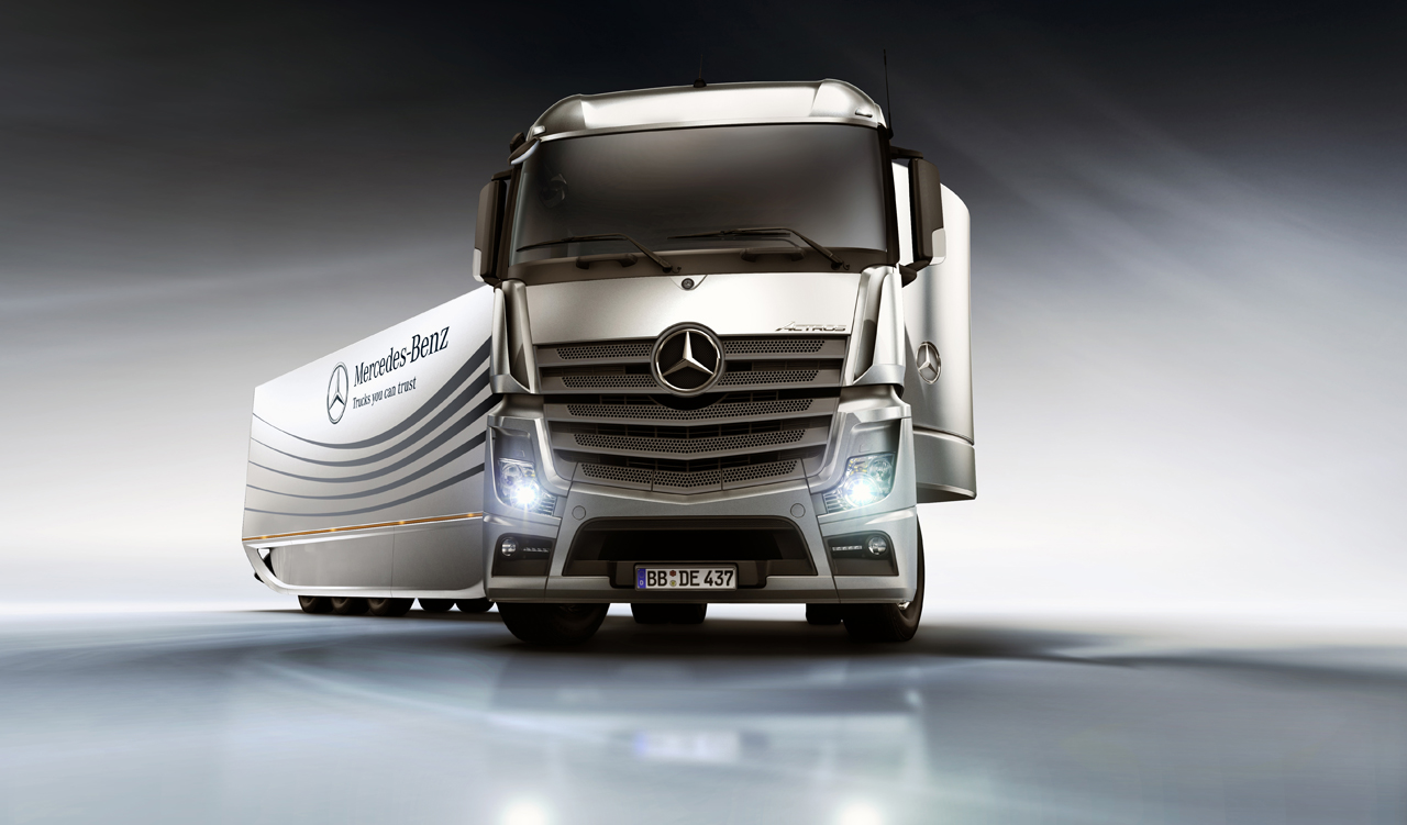 Mercedes aero trailer concept increases semi fuel for Most fuel efficient mercedes benz
