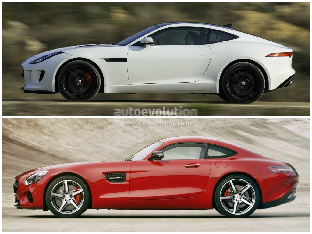 mercedes amg gt vs jaguar f type coupe photo comparison autoevolution. Black Bedroom Furniture Sets. Home Design Ideas