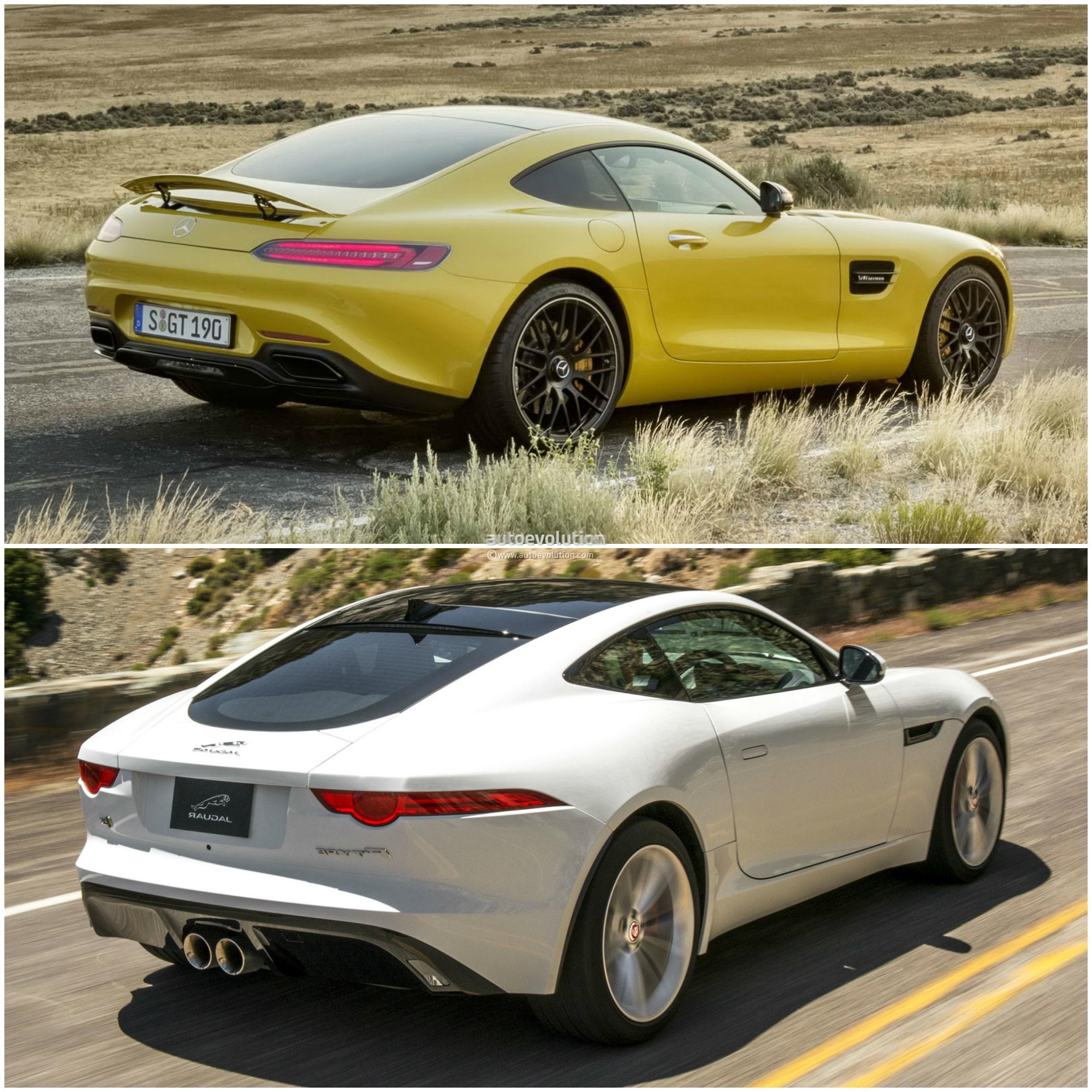 mercedes amg gt vs jaguar f type coupe photo comparison autoevolution. Black Bedroom Furniture Sets. Home Design Ideas