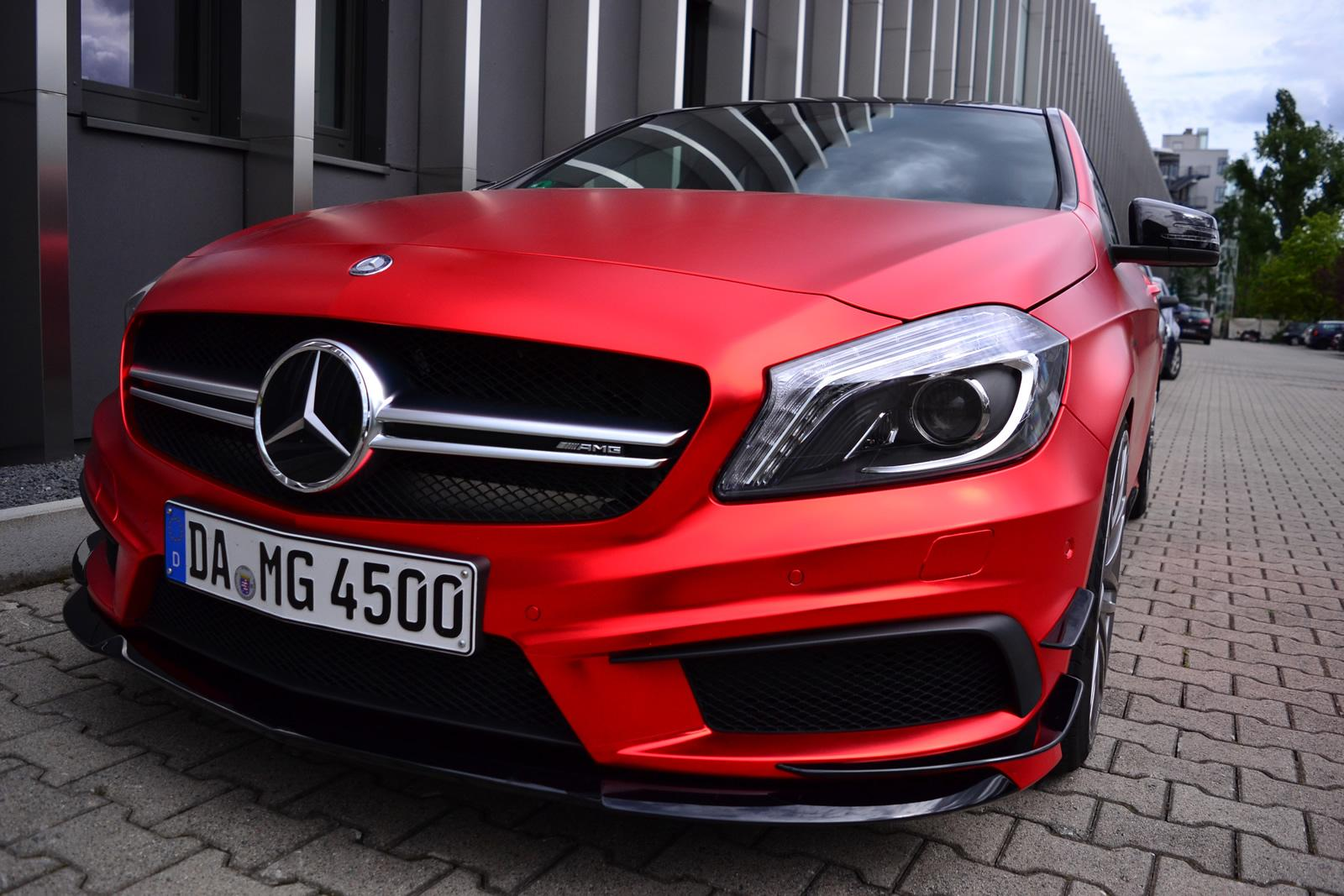 Mercedes benz a45 amg gets wrapped in wonderful red matte for Matte mercedes benz