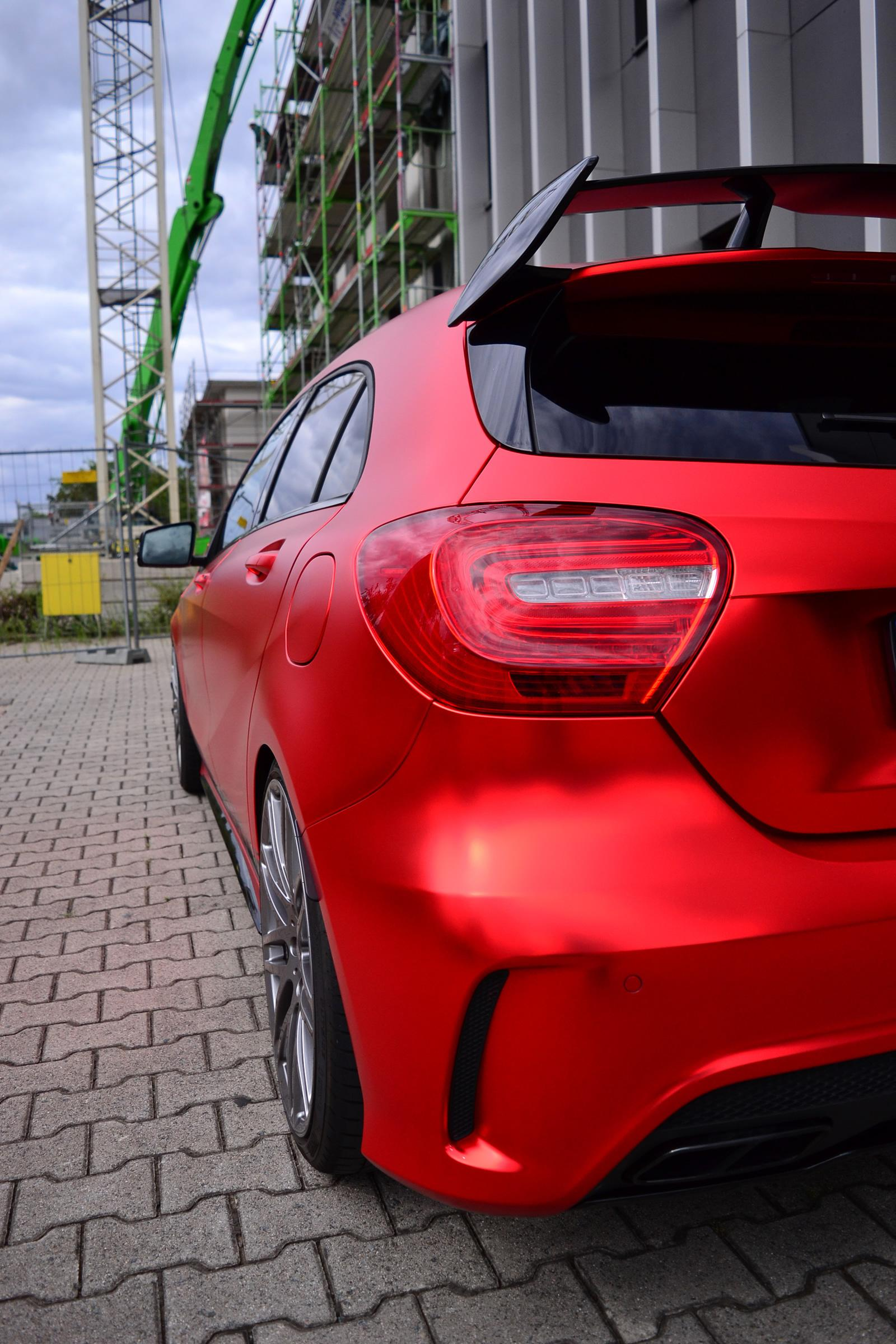 mercedes-benz a45 amg gets wrapped in wonderful red matte foil  is boosted to 435 hp