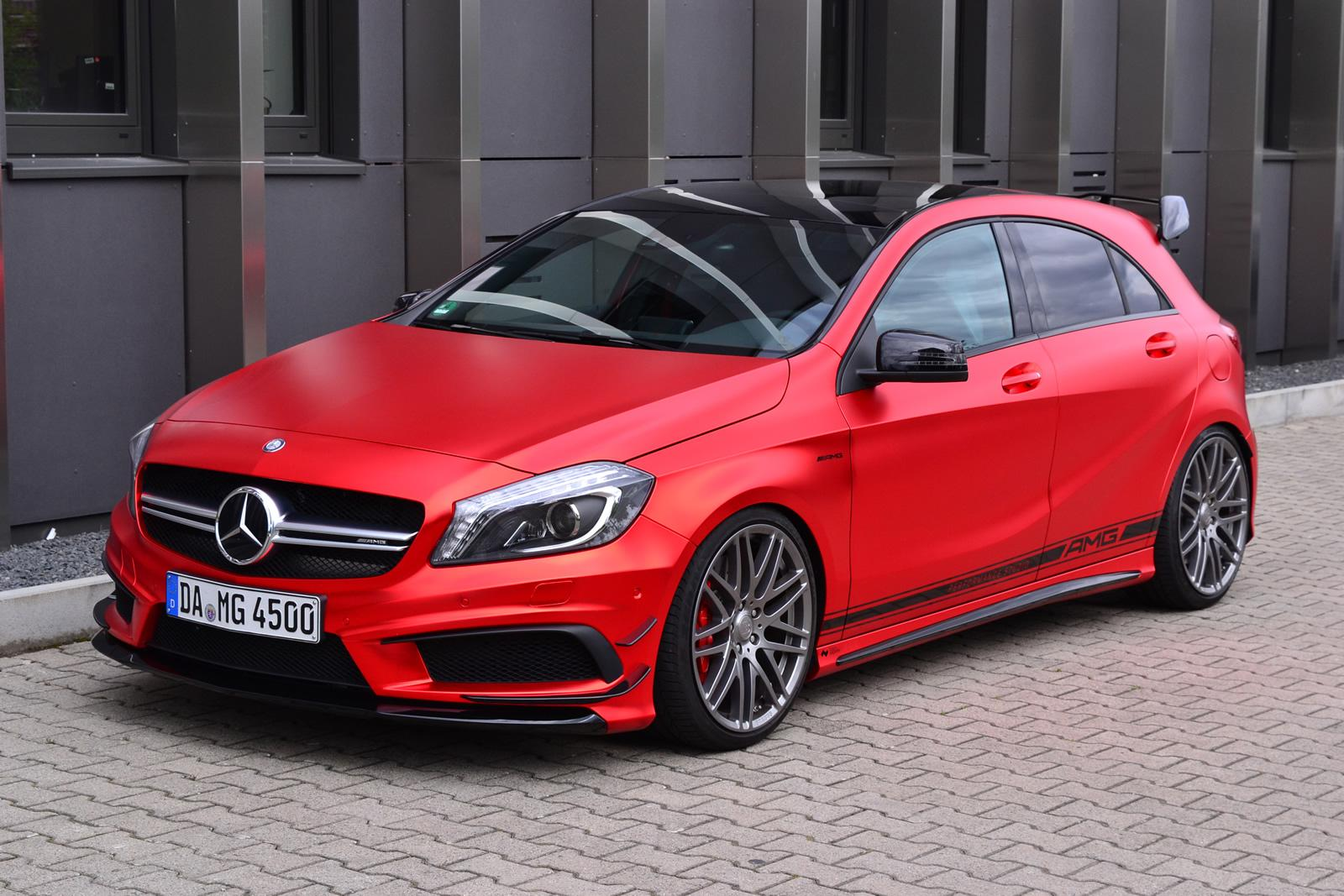 Mercedes benz a45 amg gets wrapped in wonderful red matte for Mercedes benz red