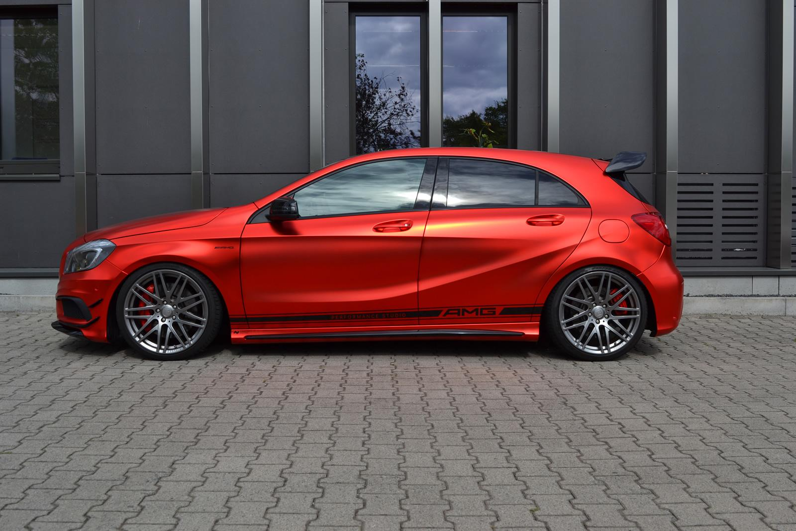 mercedes benz a45 amg gets wrapped in wonderful red matte. Black Bedroom Furniture Sets. Home Design Ideas