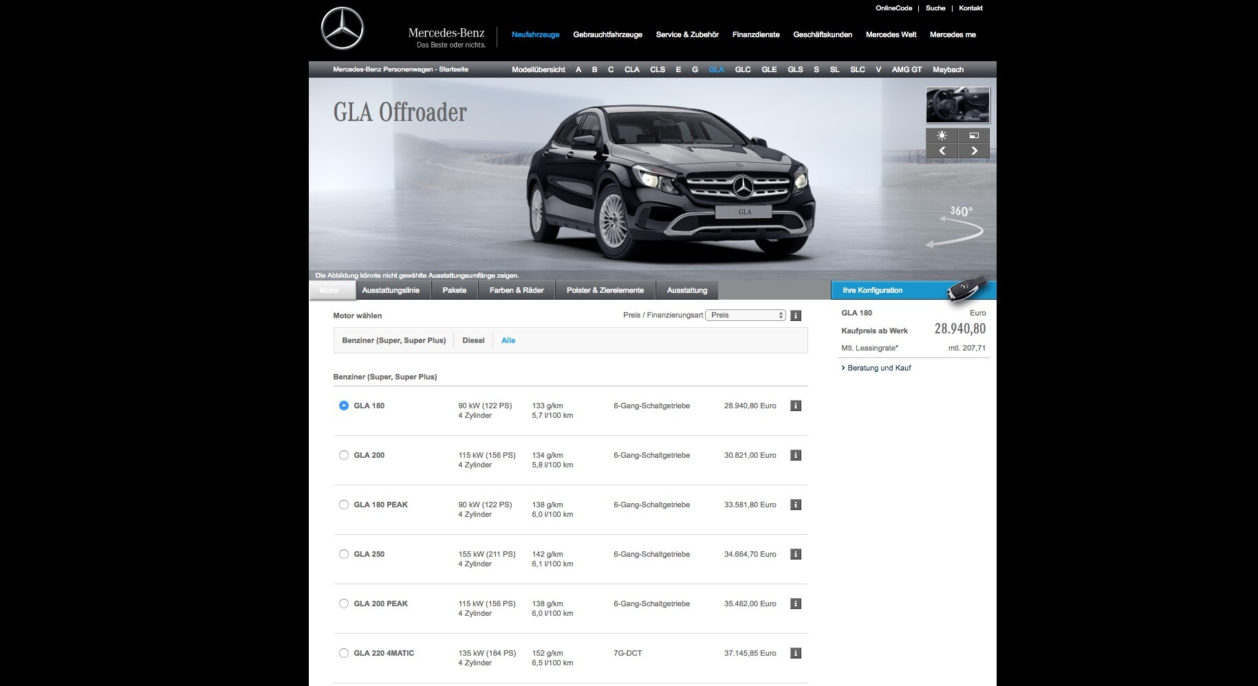 mercedes-benz gla facelift priced from eur 28,940, gla 45 4matic
