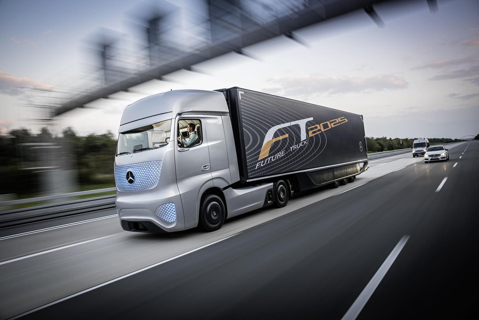 Mercedes benz unveils future truck 2025 video for Mercedes benz service plan