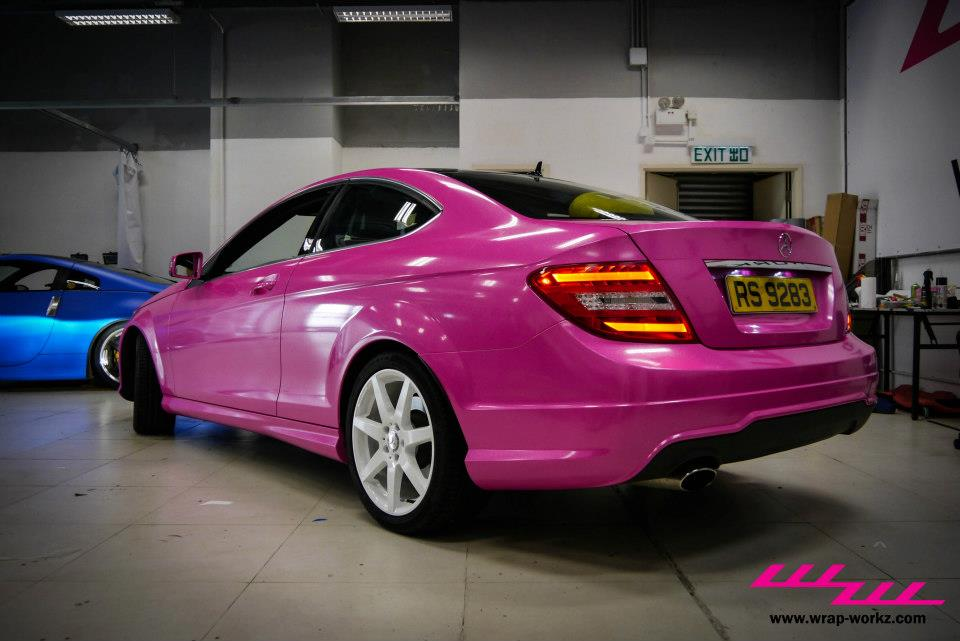 mercedes c-coupe feels macho in pink  video