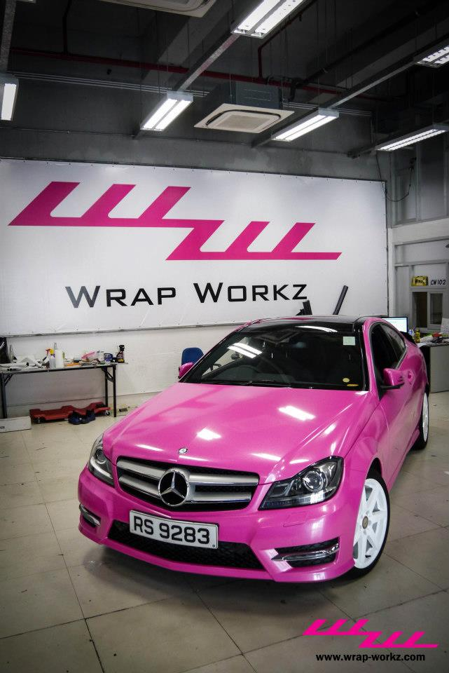 Pink mercedes c class coupe for Pink mercedes benz power wheels