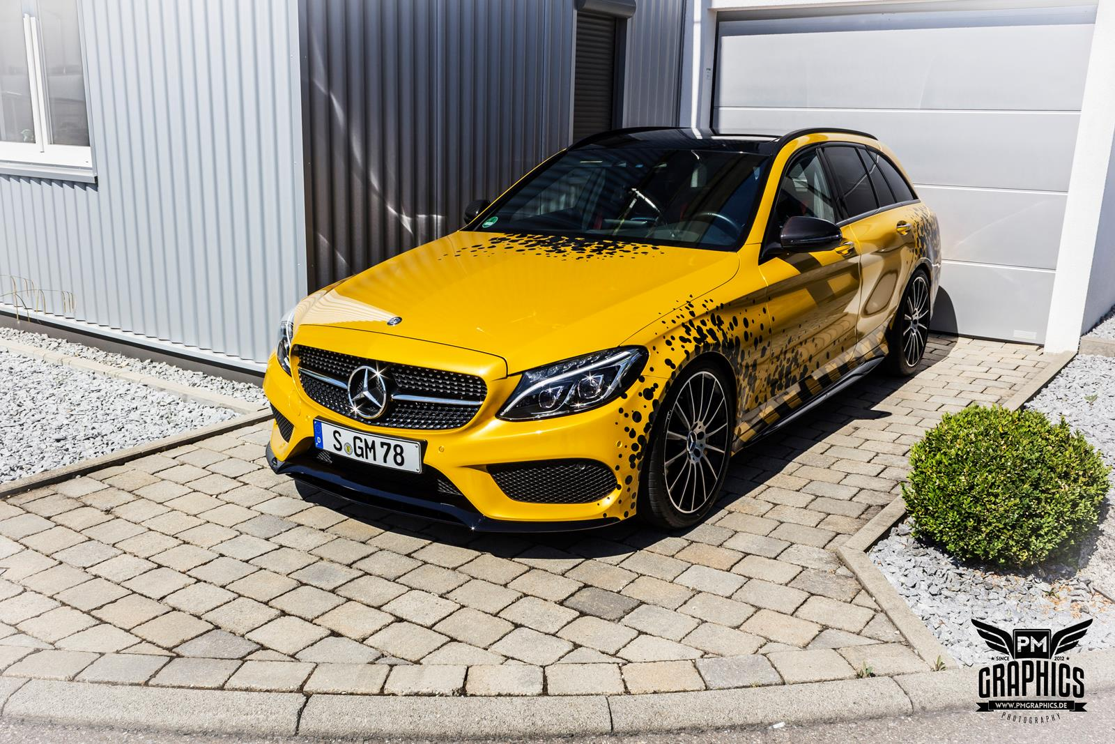 Mercedes C Amg Yellow Taxi Vs C In Silky Blue Wrap Battle