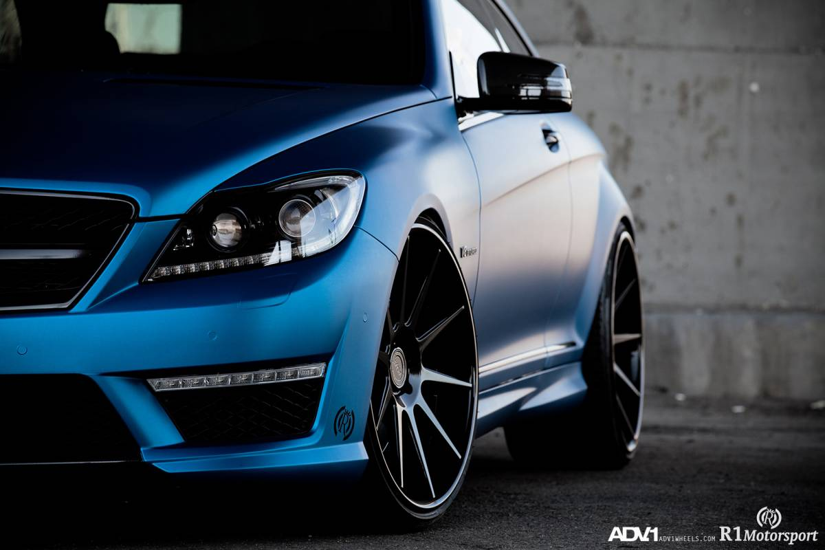 Mercedes Cl63 Amg Gets Matte Blue Wrap And Adv 1 Wheels