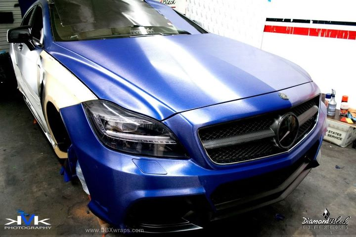 Mercedes cls black bison wrapped in brushed metallic blue for 3200 diamond eight terrace