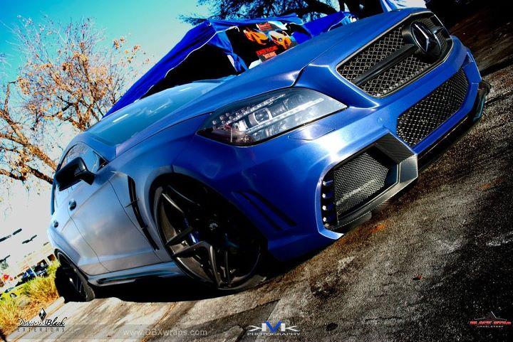Mercedes Cls Black Bison Wrapped In Brushed Metallic Blue