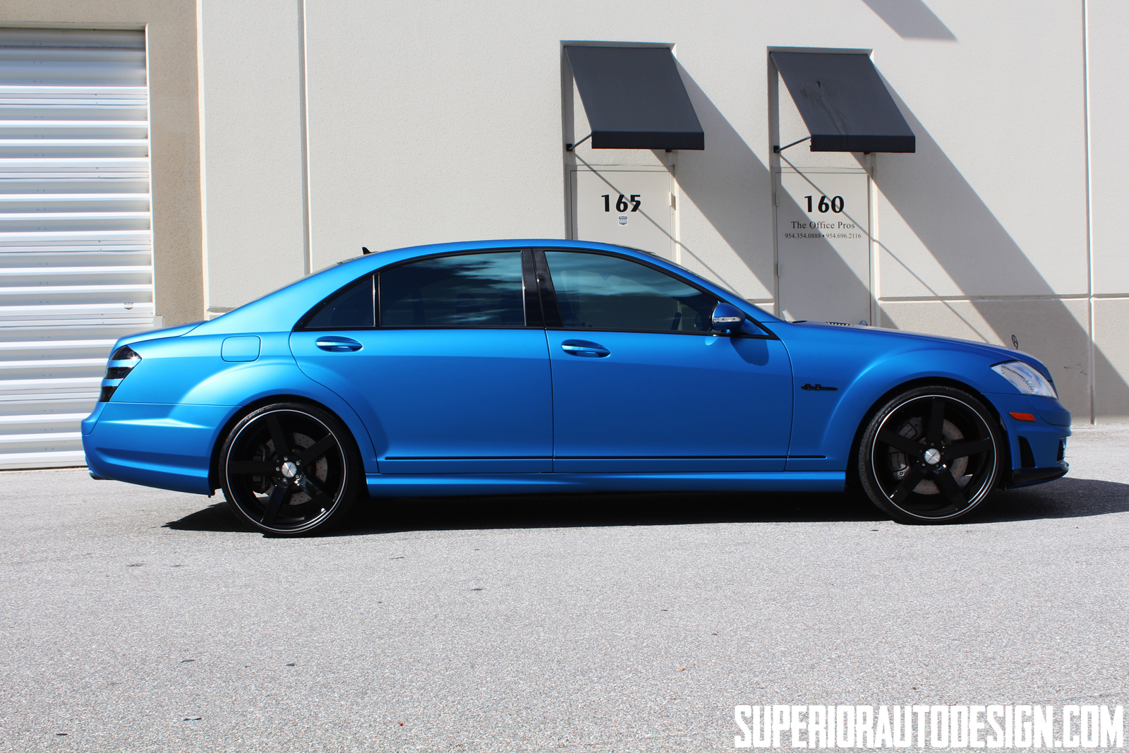 Mercedes S63 Amg Wrapped In Matte Blue Metallic