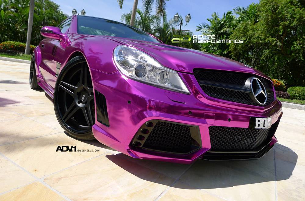 Mercedes Sl65 Amg Gets Chrome Purple Wrap And Adv 1 Wheels