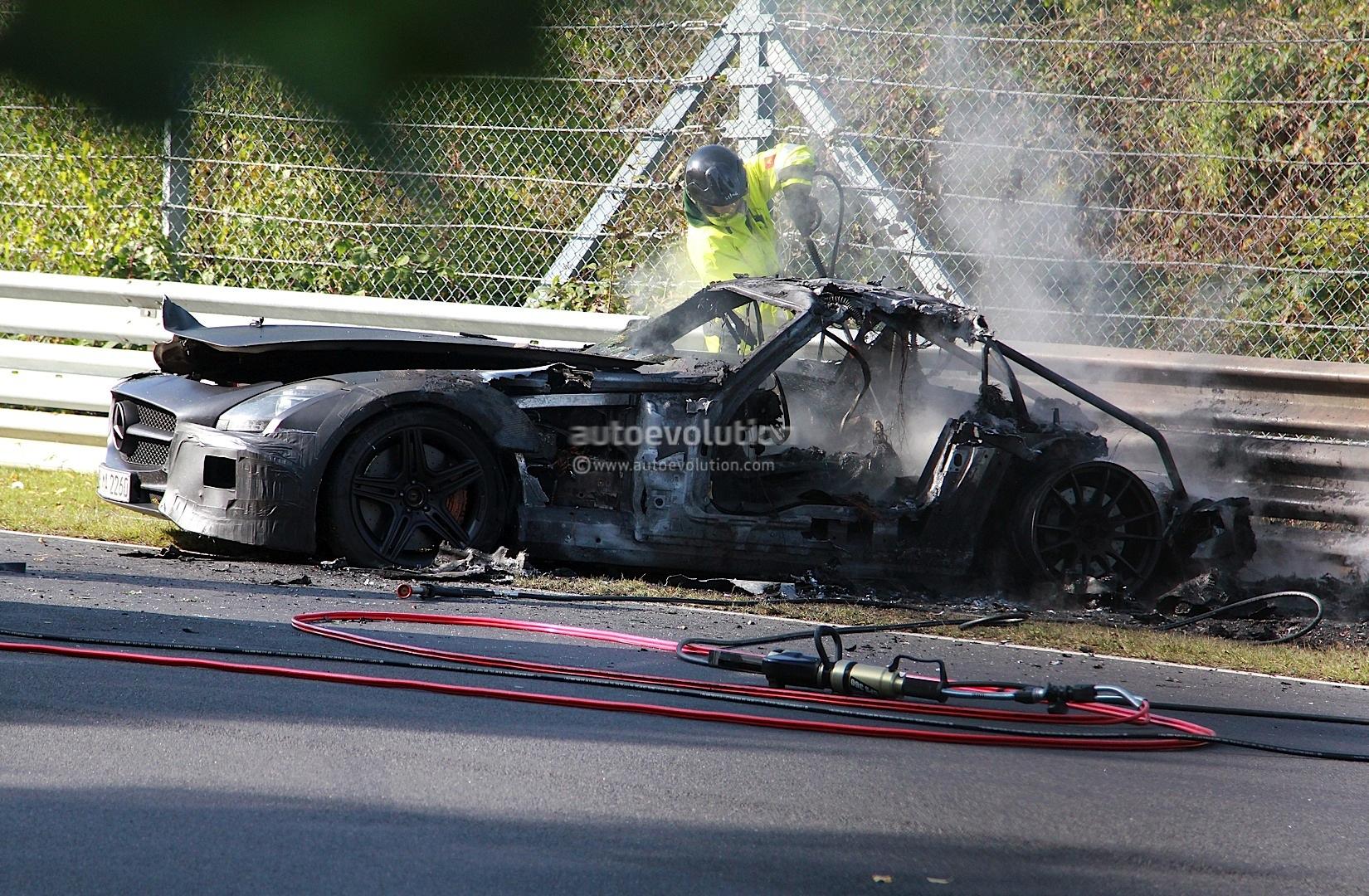 Mercedes Sls Black Series Prototype Burns On Nurburgring