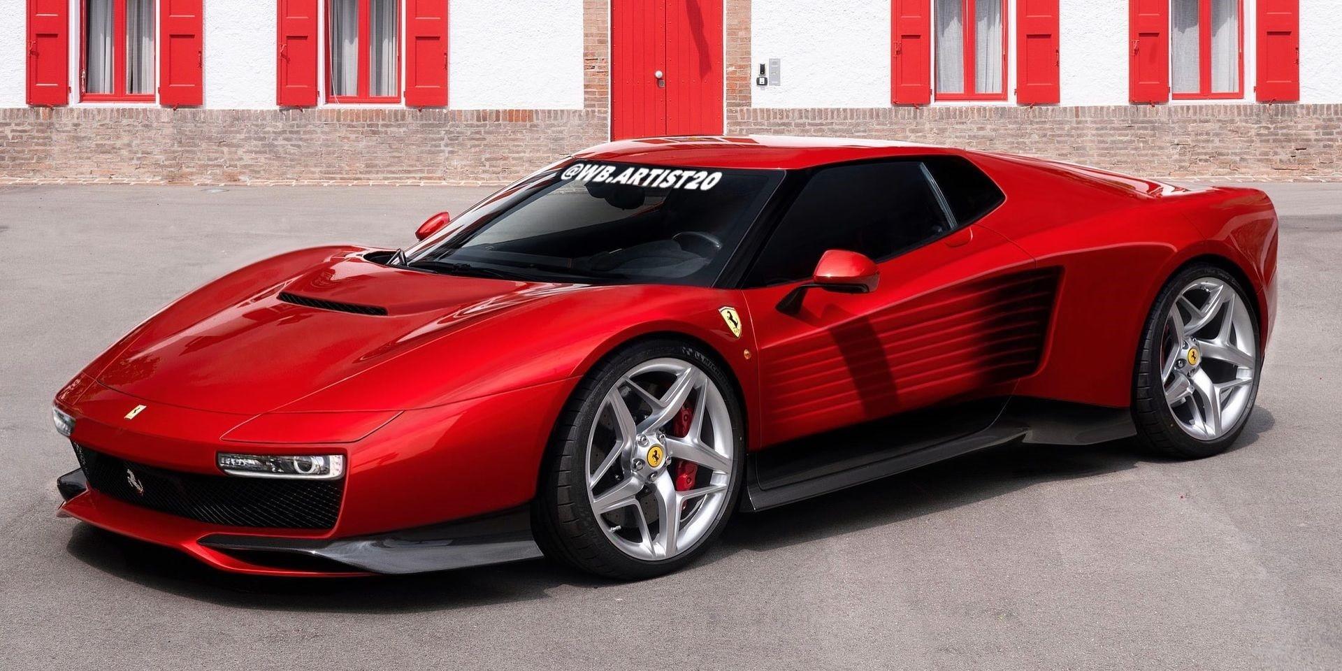 Contemporary Ferrari Testarossa Rendering Keeps the Pop-Up Lights, Door Slats - autoevolution