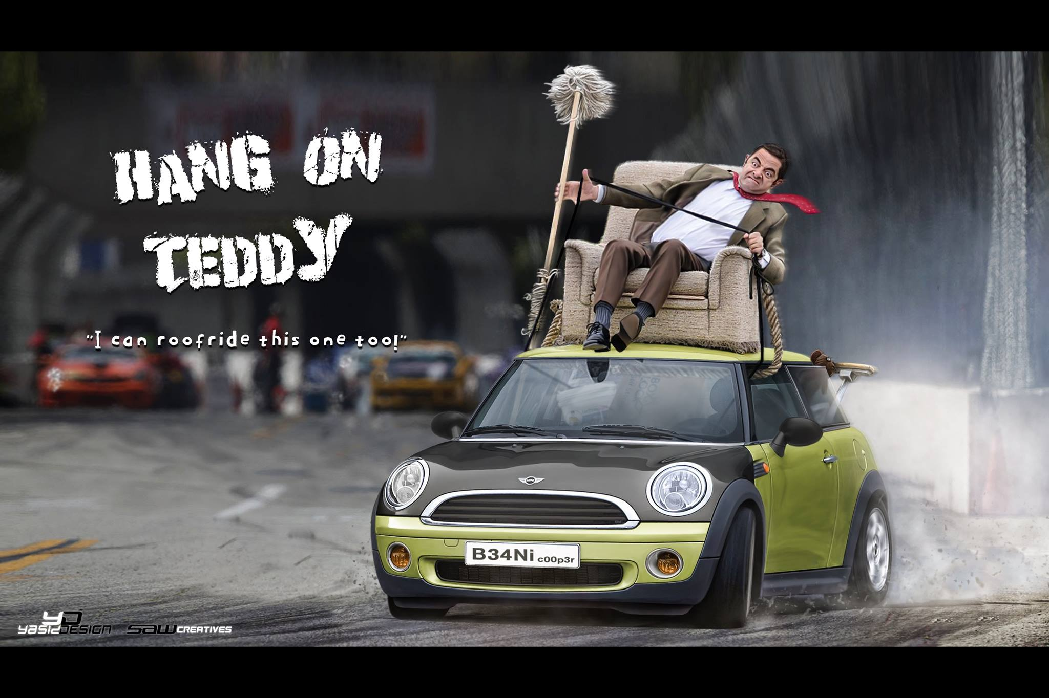 Mr Bean Mini Race Car Nfs Theme Has Huge Spoiler