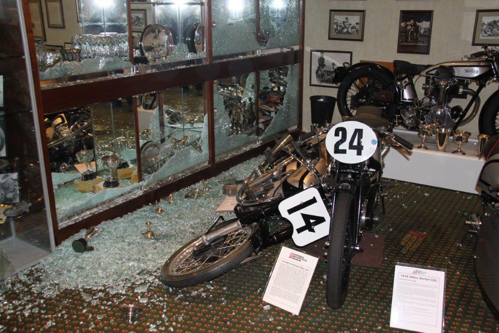 museum motorcycle stolen national birmingham broken trophies into tt display fire trophy scene crime case motorcycles bungles ten biggest autoevolution