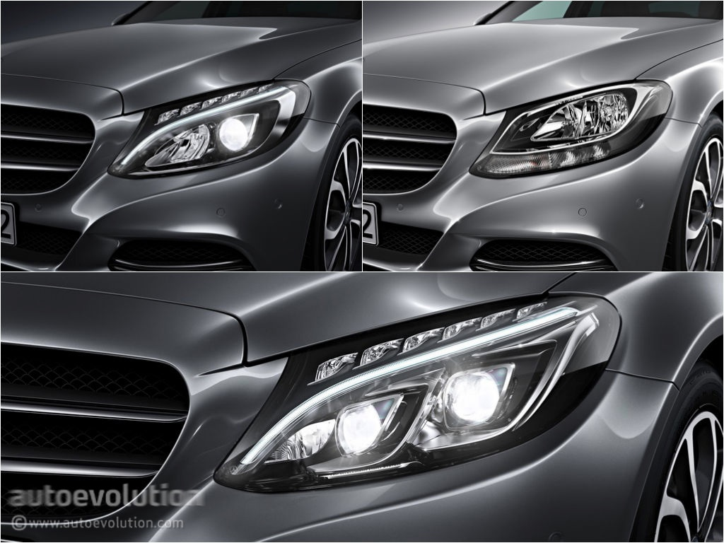 (W205): Tipos de faróis New-2015-c-class-w205-has-three-different-headlights-photo-gallery_1