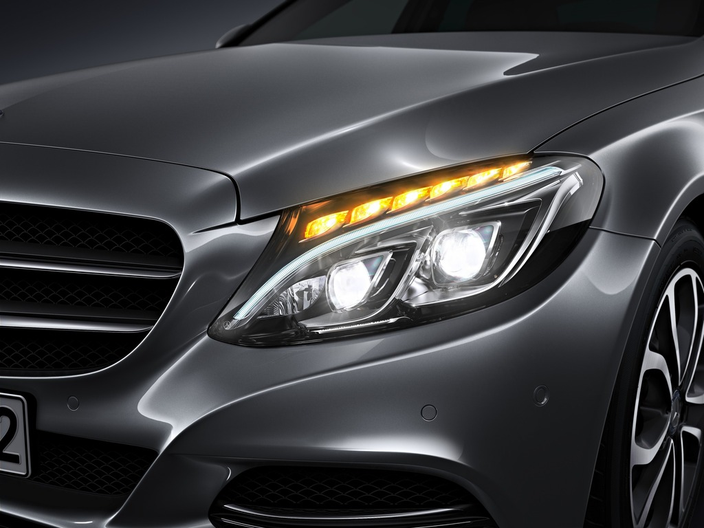 New 2015 c class w205 has three different headlights for Mercedes benz lights