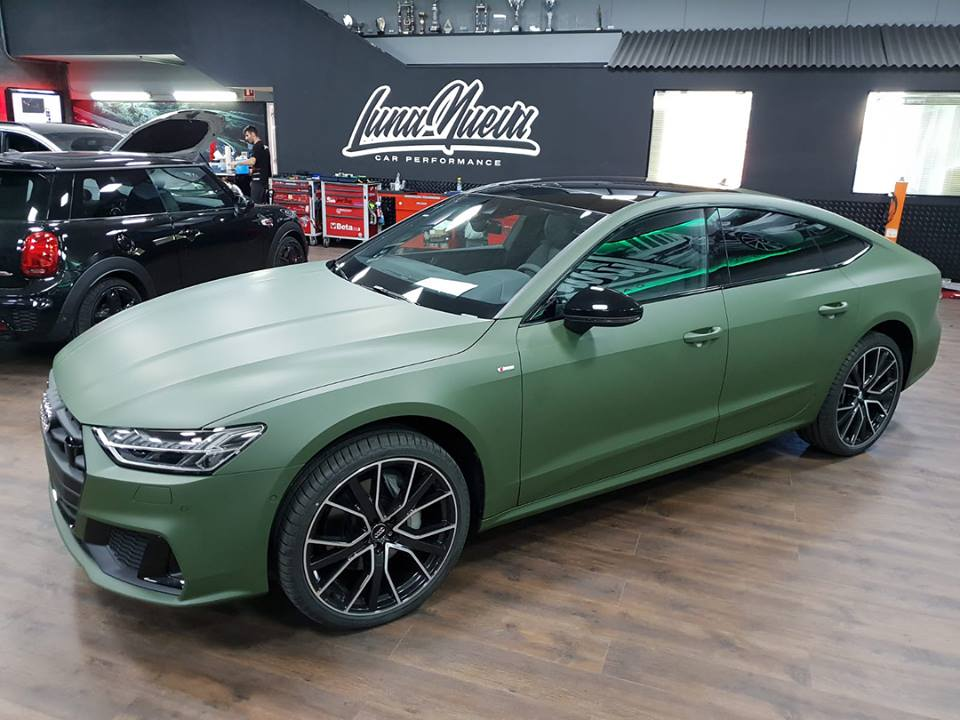 new audi a7 gets first wrap and it 39 s matte army green. Black Bedroom Furniture Sets. Home Design Ideas