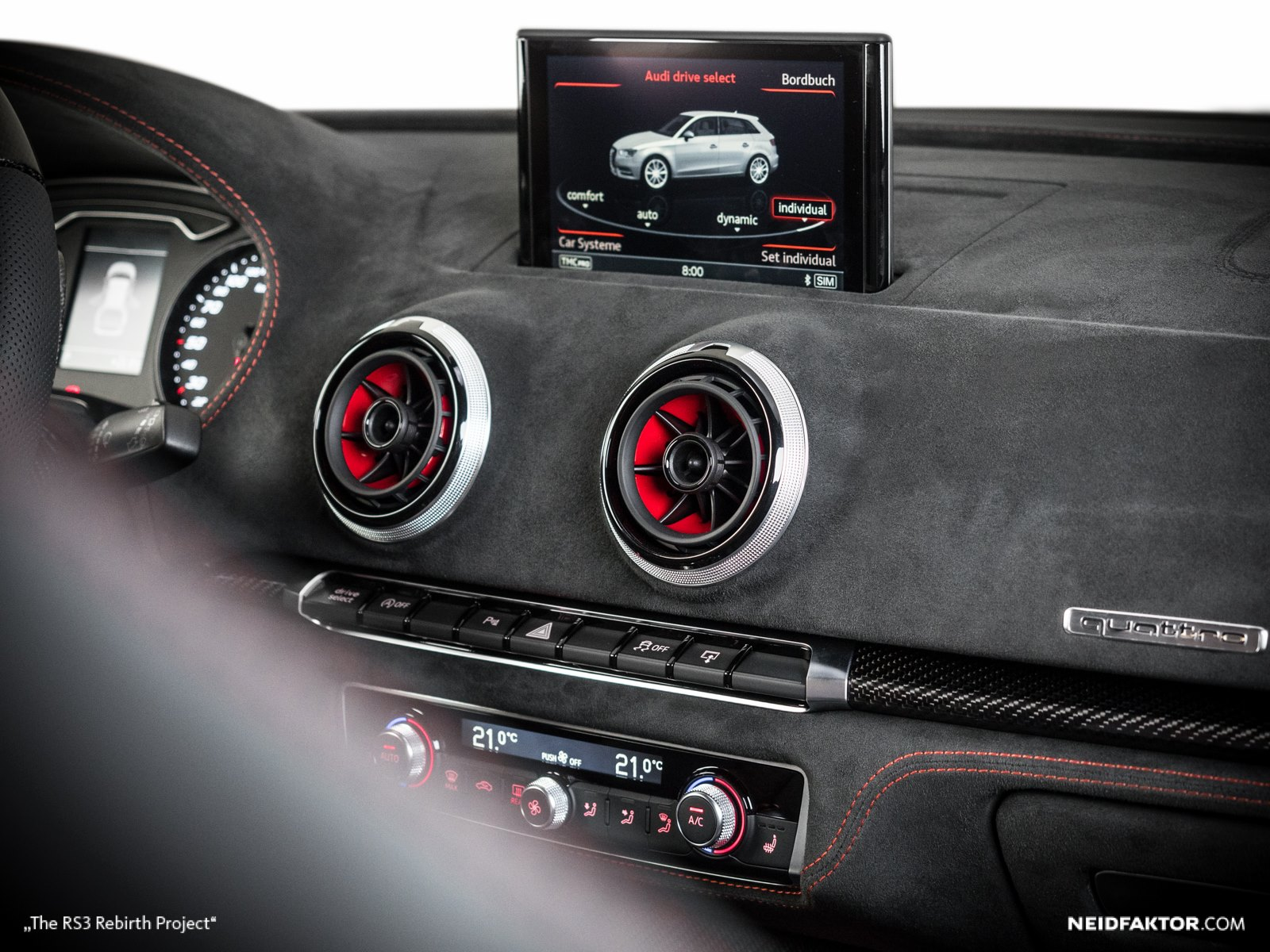 new audi rs3 gets carbon fiber and alcantara interior from neidfaktor autoevolution. Black Bedroom Furniture Sets. Home Design Ideas