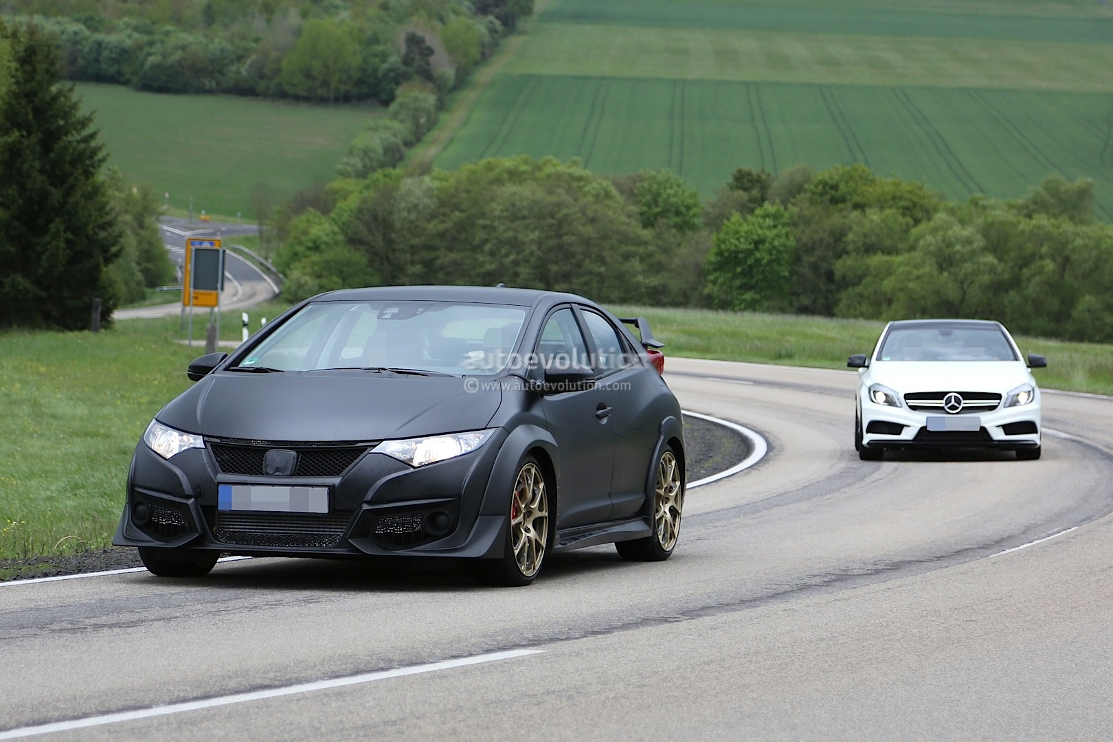 new honda civic type r spied testing against mercedes a45. Black Bedroom Furniture Sets. Home Design Ideas