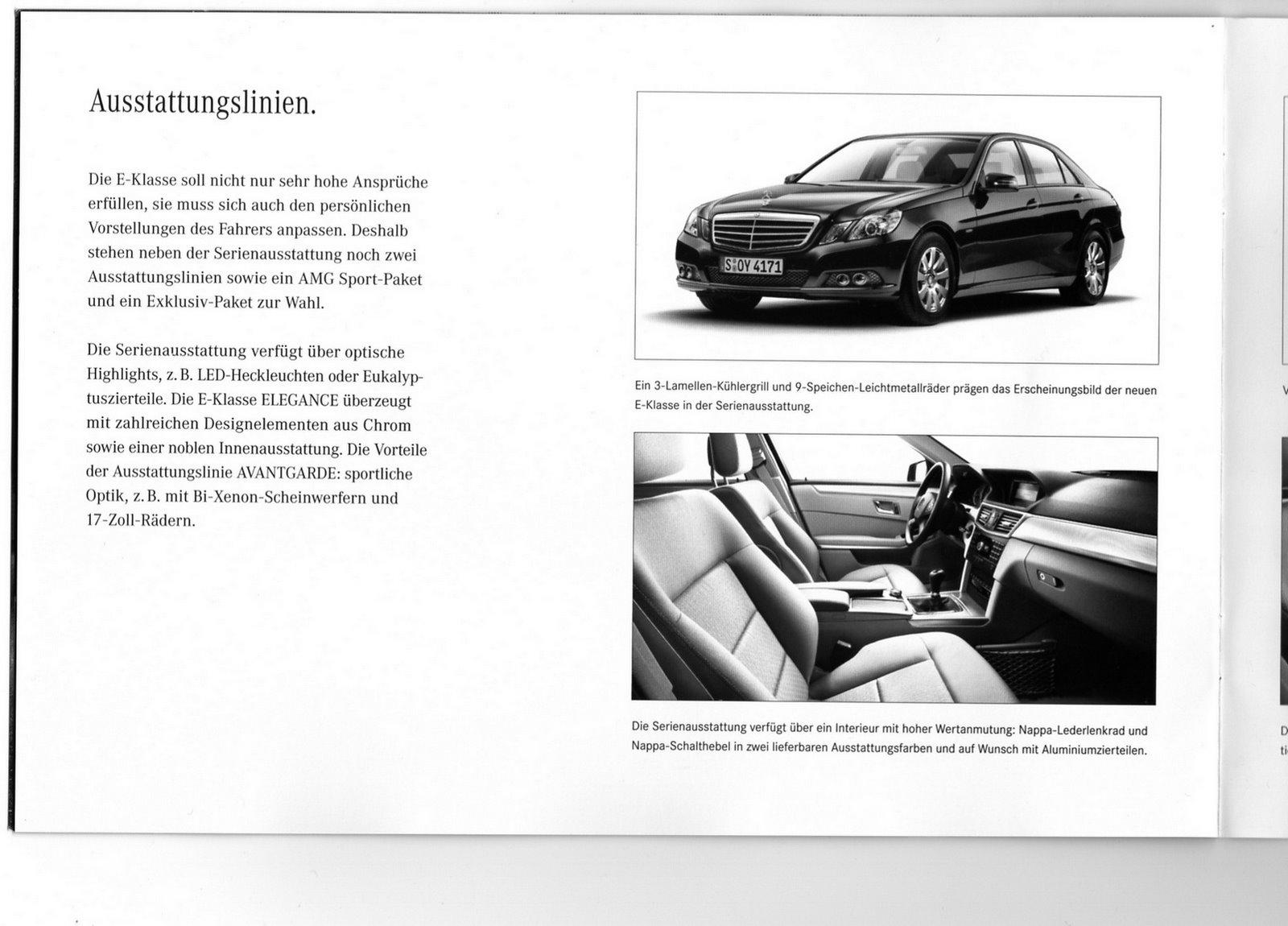 New mercedes benz e klasse w212 german brochure leak for Mercedes benz e class brochure