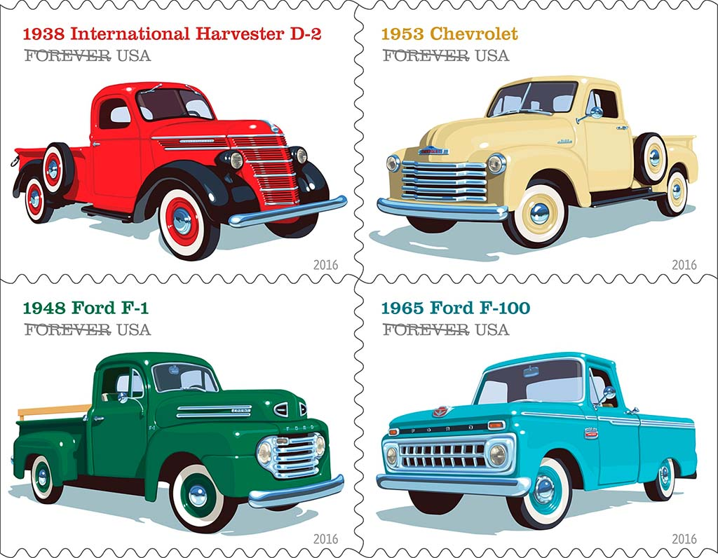 USPS Celebrates Classic Pickup Trucks with Collectible Stamps