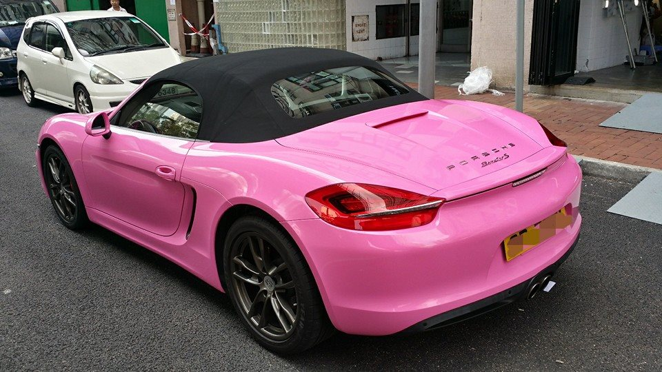 New Porsche Boxster S Wrapped in Pink for Hong Kong ...