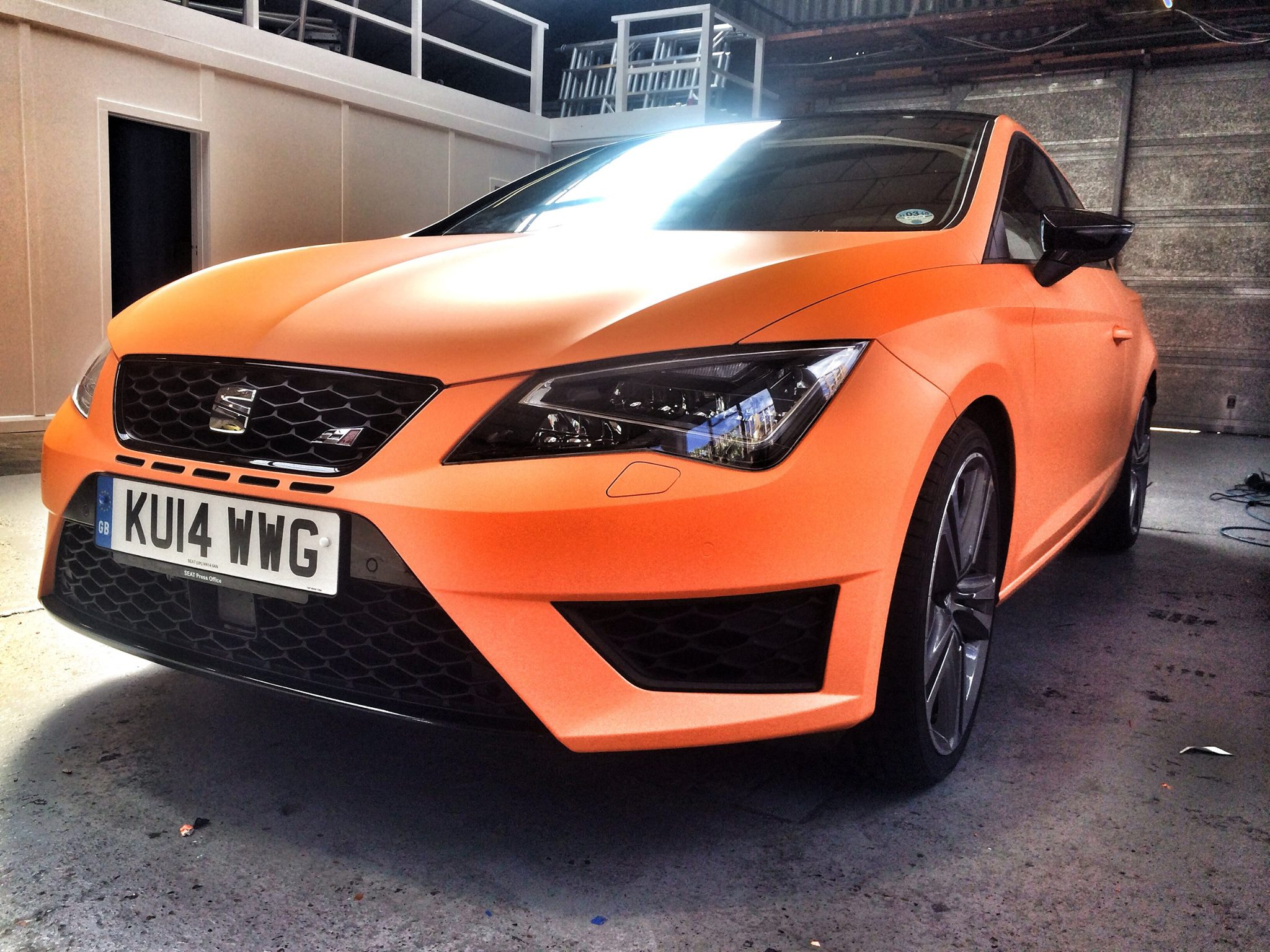 Orange 2015 Mustang >> New SEAT Leon Cupra Wrapped in Matte Neon Yellow and ...