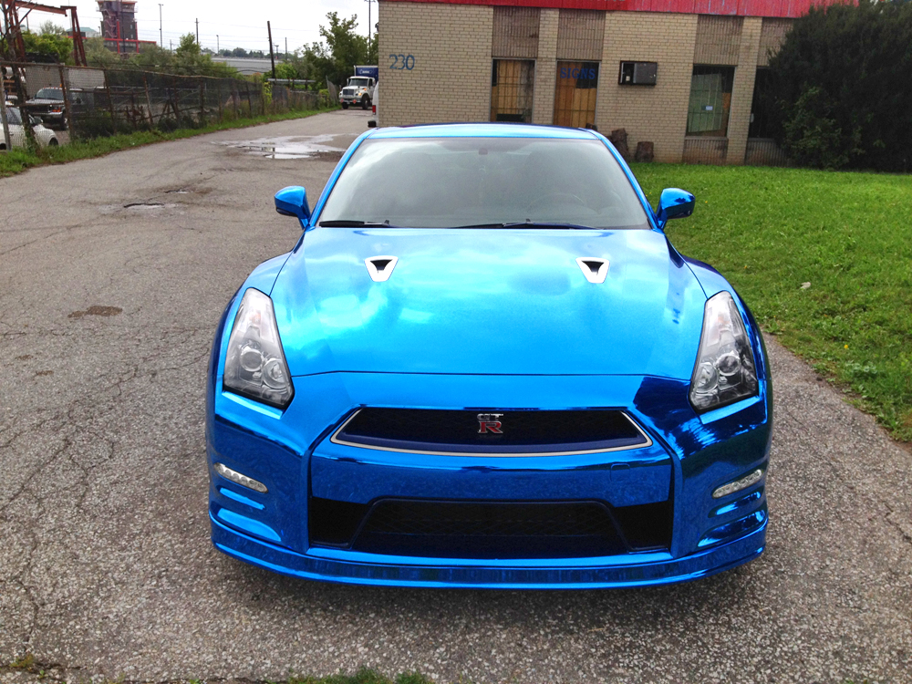 Nissan Gt R Wrapped In Blue Chrome