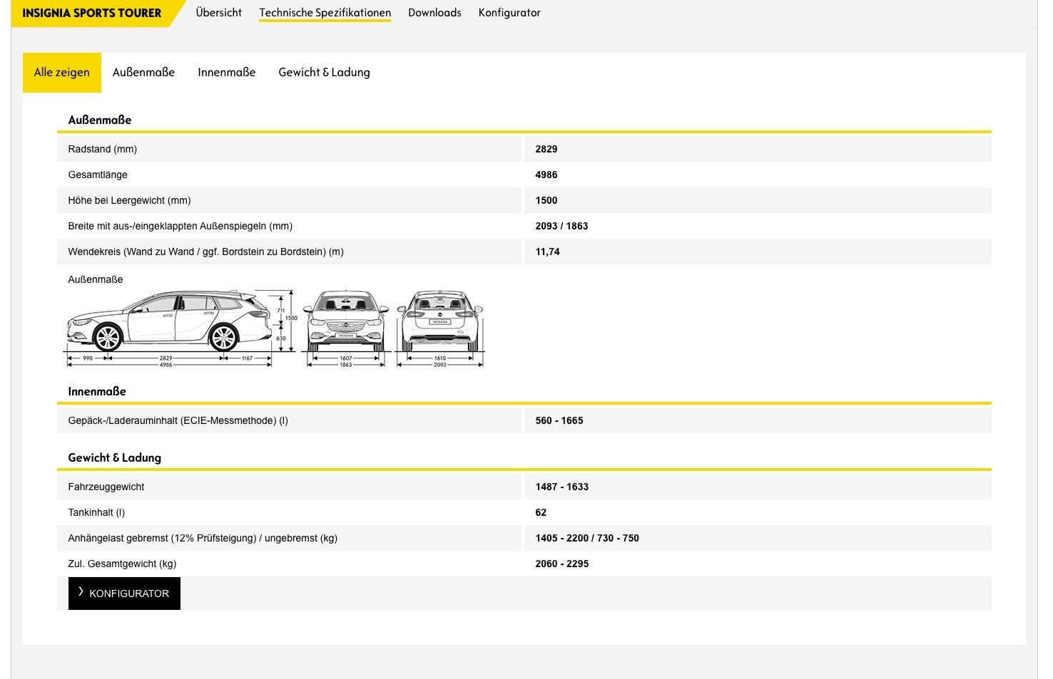 Opel insignia specifications