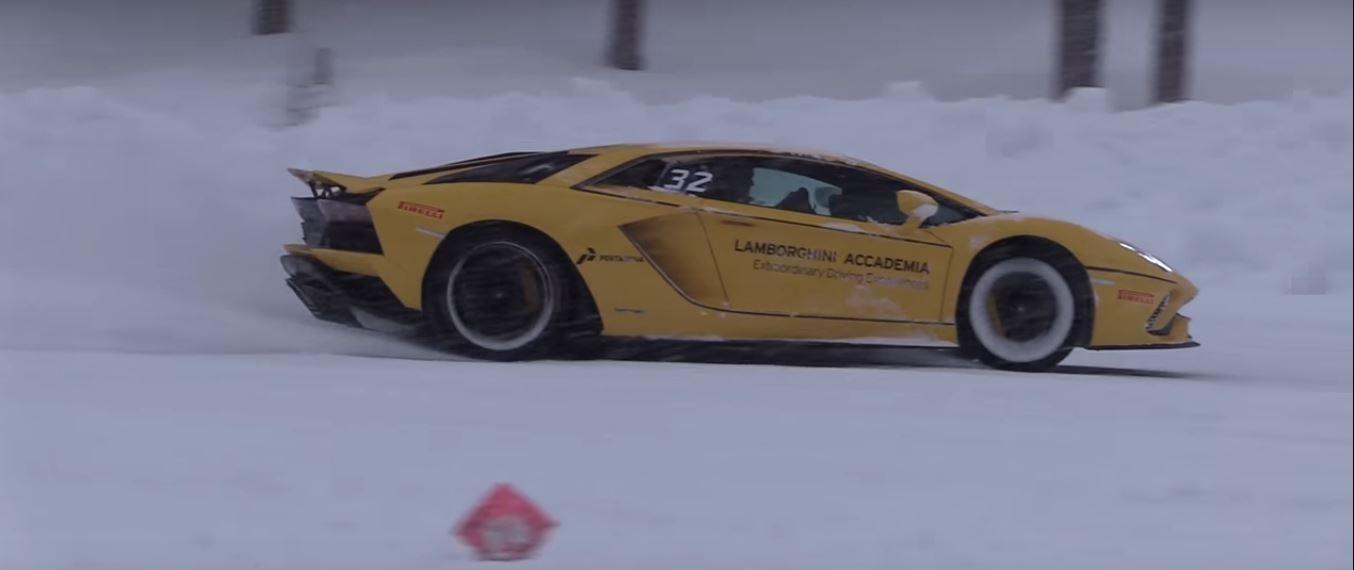 Pack Of Lamborghini Aventador S Supercars Drifting In The Blizzard