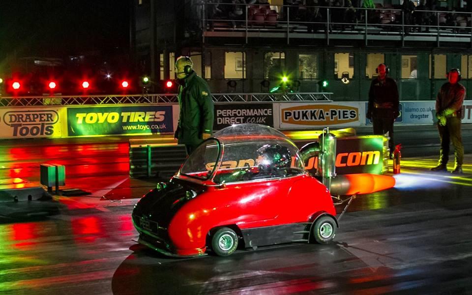 Peel Trident With Rocket Engine Sets Absurd Drag Racing