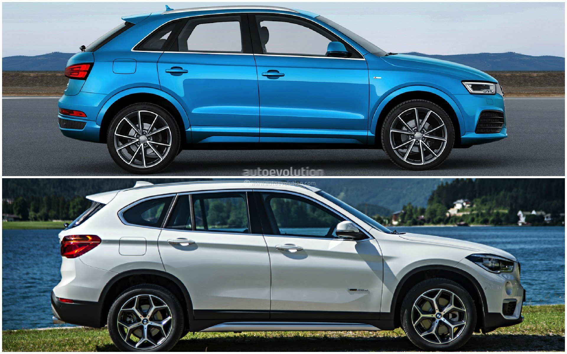 photo comparison 2015 bmw x1 versus 2015 audi q3 autoevolution. Black Bedroom Furniture Sets. Home Design Ideas