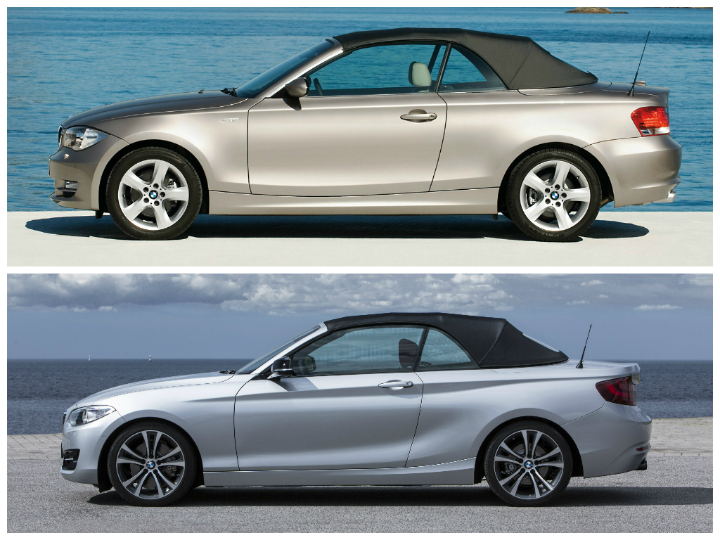 photo comparison bmw 2 series convertible vs 1 series convertible autoevolution. Black Bedroom Furniture Sets. Home Design Ideas