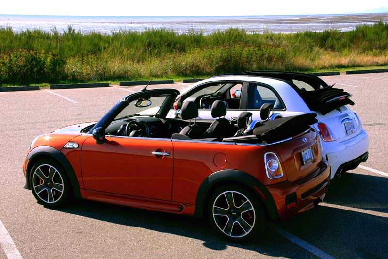 picking the perfect convertible mini jcw or 500 abarth. Black Bedroom Furniture Sets. Home Design Ideas