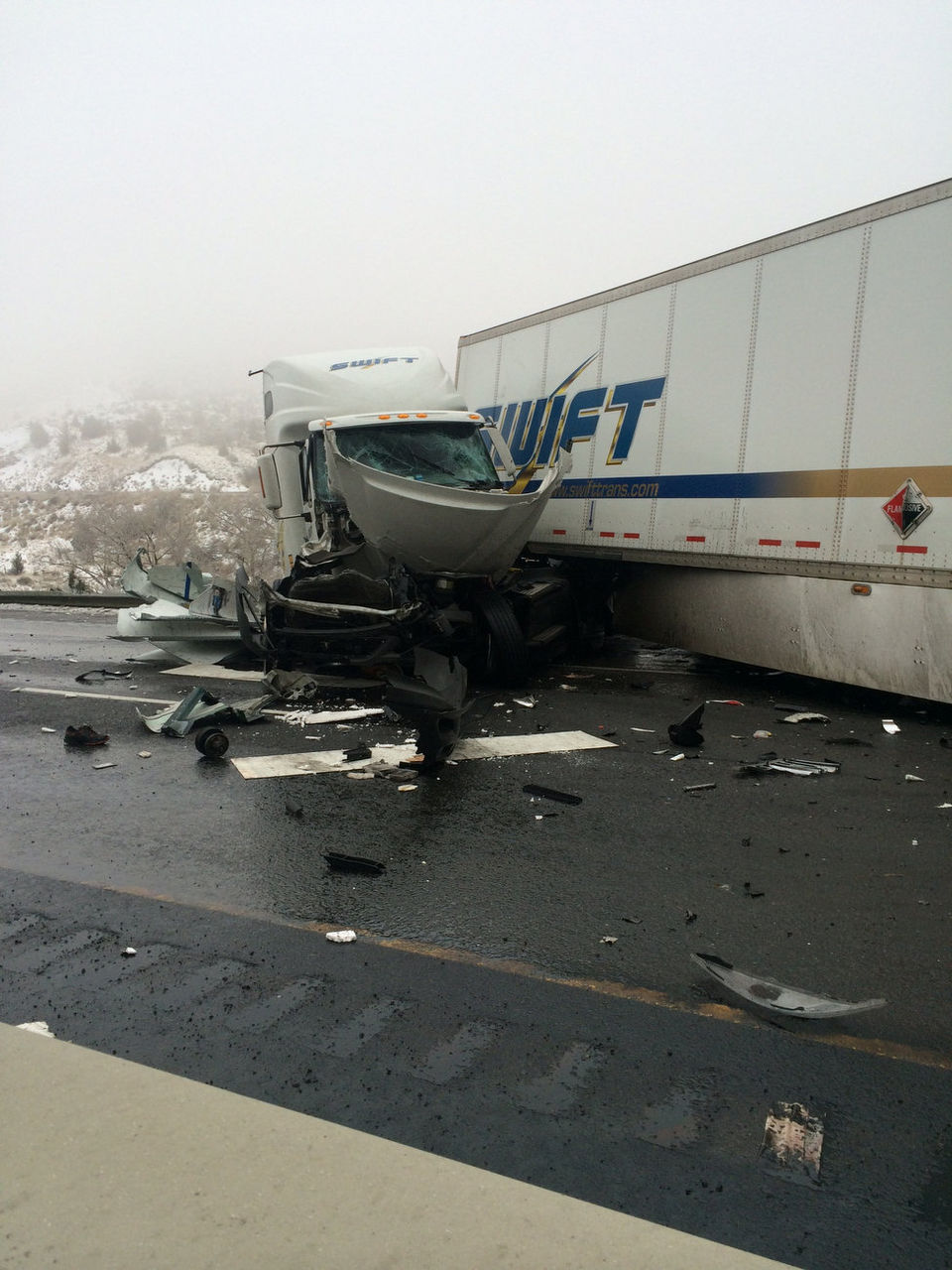 Pickup Driver Survives Being Crushed Between 2 Semis In I