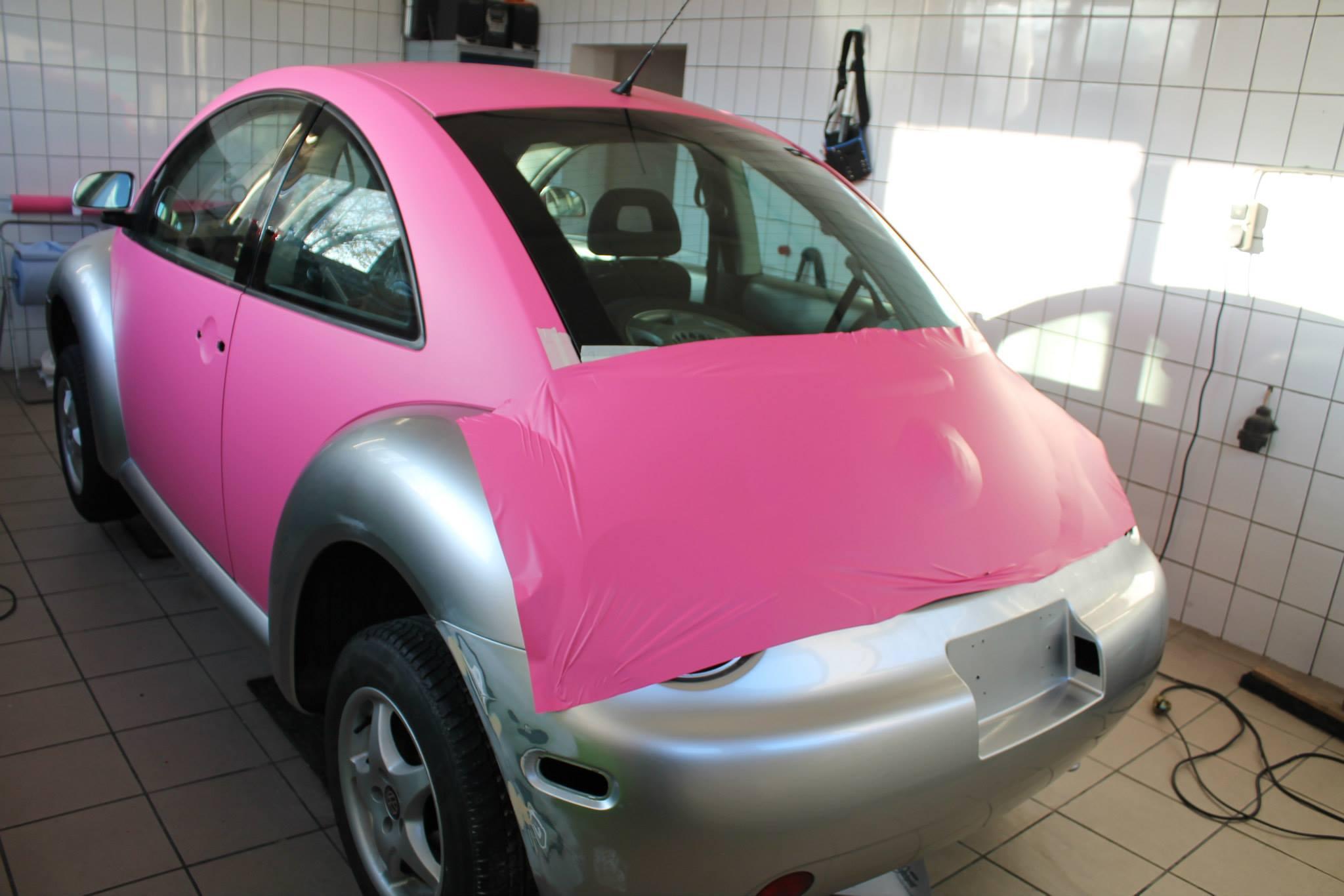 pink driving in vw beetle the gone volkswagen