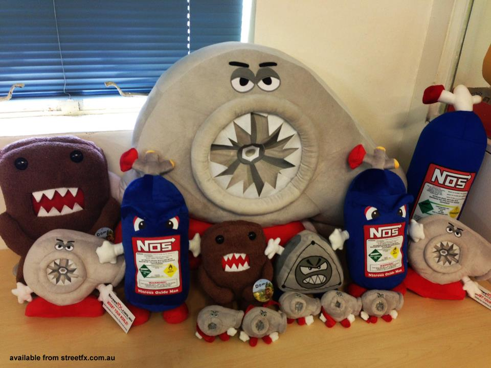 Plush Toy Versions Of Turbo Nos Bottle And Wankel Rotor