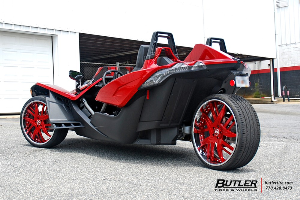 Polaris Slingshot on Fiery-Red Forgiato Wheels Looks Like a Trike from ...