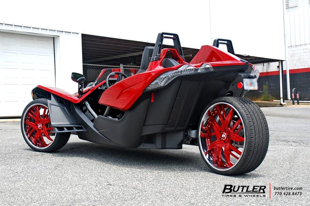 Polaris Slingshot on Fiery-Red Forgiato Wheels Looks Like a Trike ...