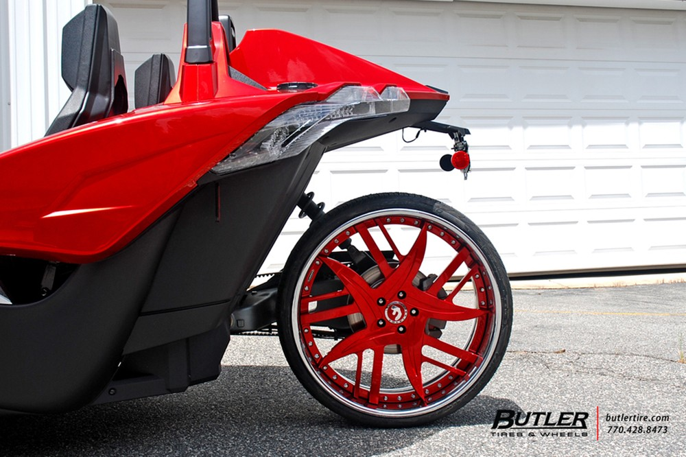 Polaris Slingshot On Fiery Red Forgiato Wheels Looks Like
