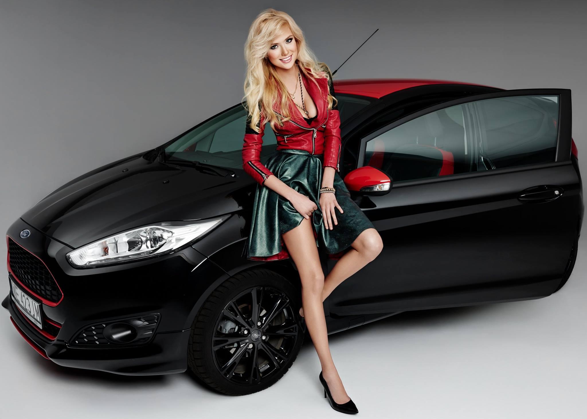 Polish Blonde Model Agata Makes A Ford Fiesta Black
