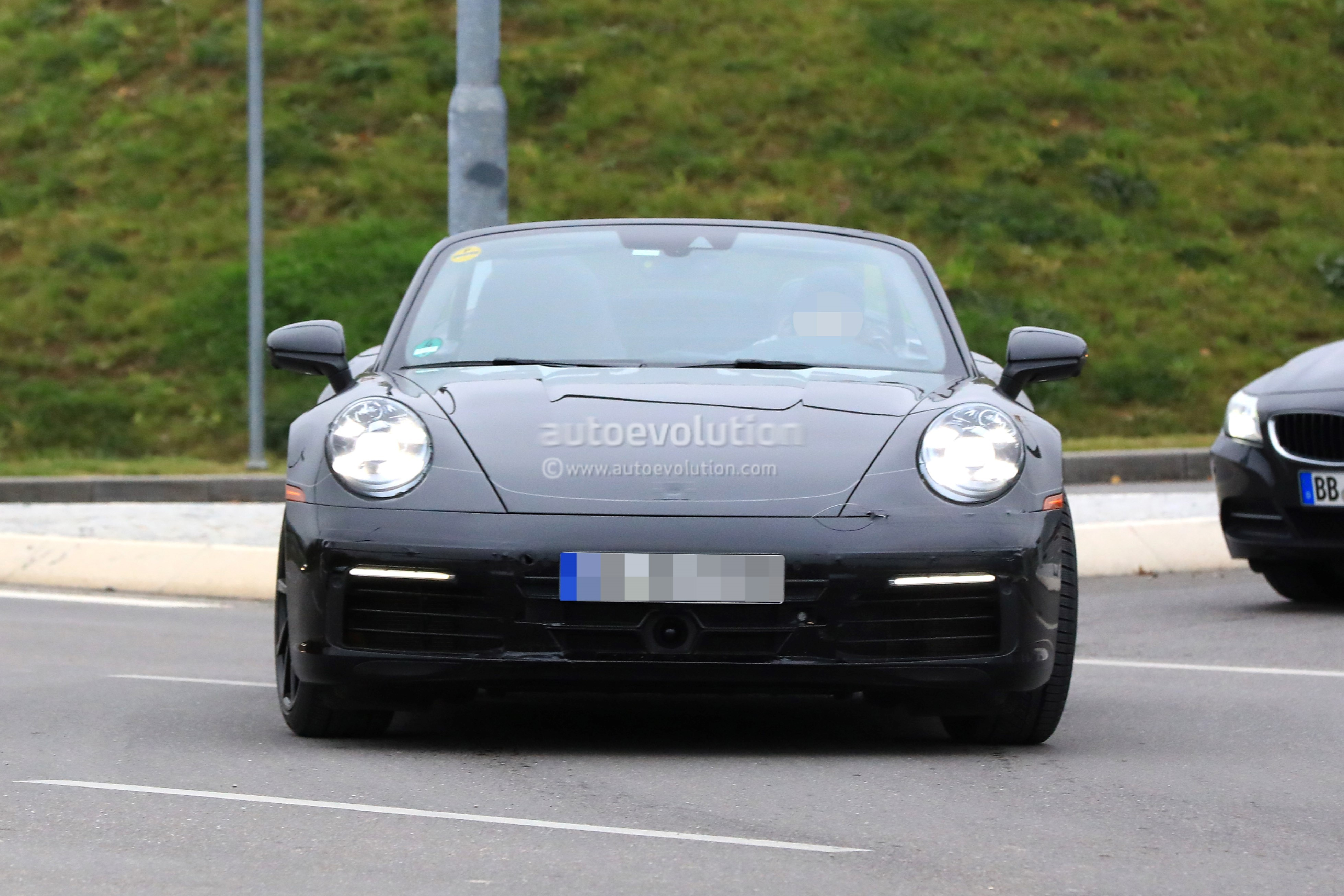 Porsche 992 Cabriolet Spied With The Roof Down In Chilly